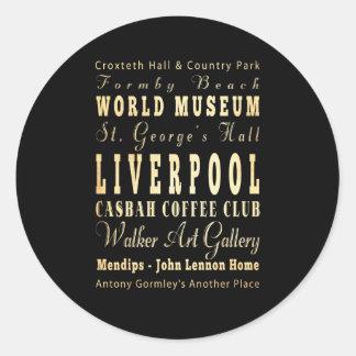 Liverpool City of United Kingdom Typography Art Round Sticker
