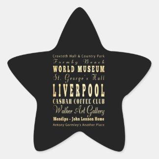 Liverpool City of United Kingdom Typography Art Star Sticker