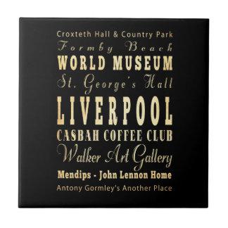 Liverpool City of United Kingdom Typography Art Ceramic Tiles