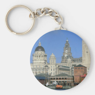 Liverpool city skyline, England, U.K. Basic Round Button Key Ring