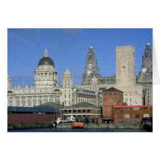 Liverpool city skyline England U K Greeting Cards