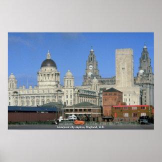 Liverpool city skyline, England, U.K. Poster