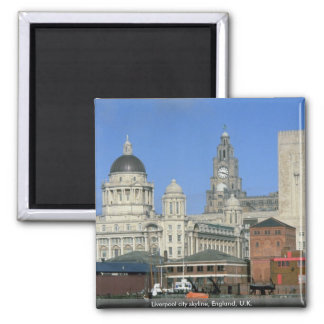 Liverpool city skyline, England, U.K. Square Magnet