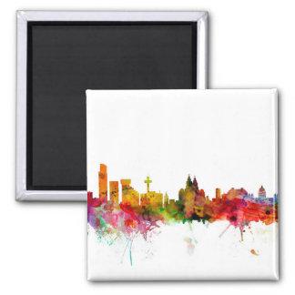 Liverpool England Skyline Square Magnet