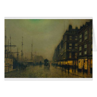 Liverpool Quay by Moonlight by John Atkinson Grims Greeting Card