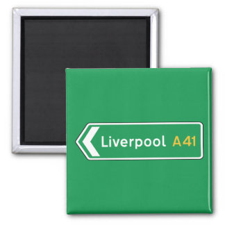 Liverpool, UK Road Sign Square Magnet