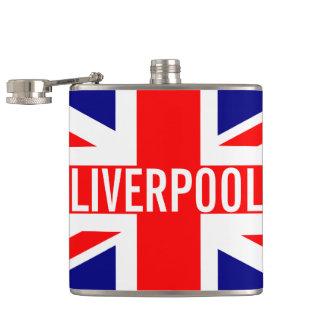 Liverpool UK Union Jack Flag Hip Flasks