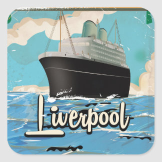 Liverpool Vintage Travel poster Square Sticker