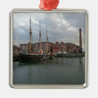 Liverpool's Albert Dock Silver-Colored Square Decoration