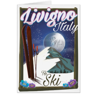 Livigno Italy ski travel poster Card