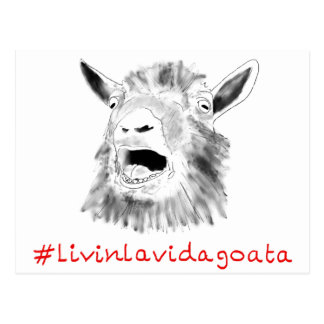 Livin La Vida Goata Funny Animal Art Slogan Design Postcard