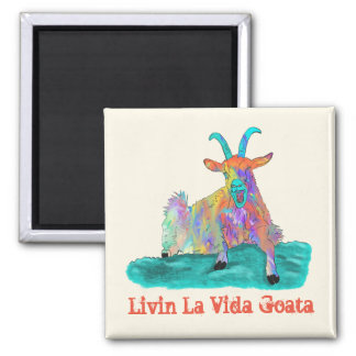 Livin La Vida Goata Funny Screaming Goat Design Magnet