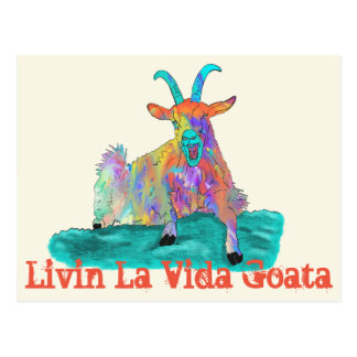 Livin La Vida Goata Funny Screaming Goat Design Postcard