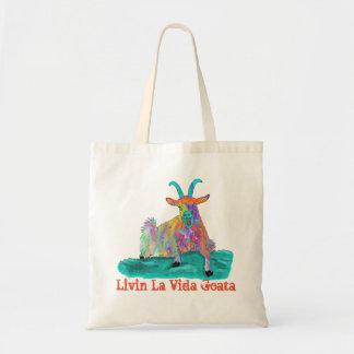 Livin La Vida Goata Funny Screaming Goat Design Tote Bag
