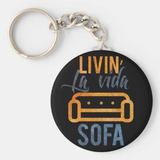 Livin' la vida sofa basic round button key ring