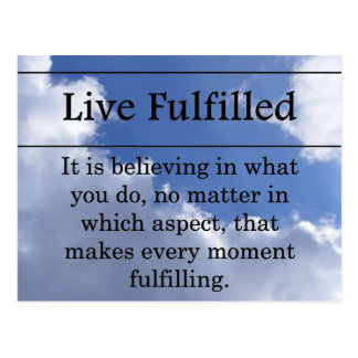 Living a fulfilled life postcard