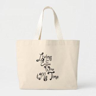 Living for Coffee, Wine, and Me Time Jumbo Tote Bag