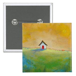 Living in Color - happy little landscape painting 15 Cm Square Badge