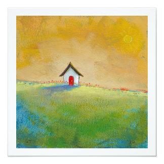 Living in color happy little landscape painting 13 cm x 13 cm square invitation card
