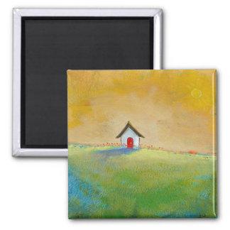 Living in Color - happy little landscape painting Square Magnet