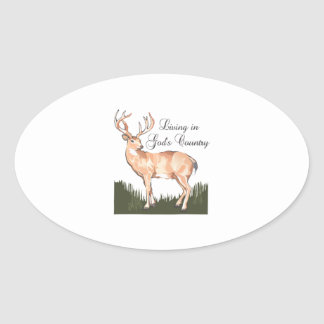 LIVING IN GODS COUNTRY OVAL STICKERS