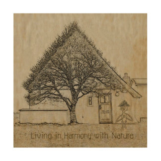Living In Harmony With Nature Wood Print