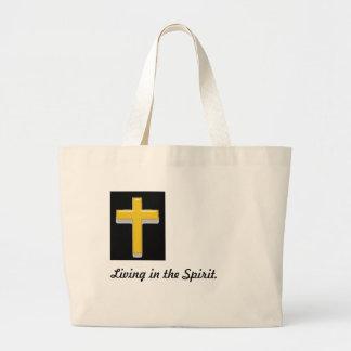 Living in the Spirit/ Christian Cross Tote Bag