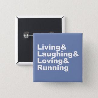 Living&Laughing&Loving&RUNNING (wht) 15 Cm Square Badge