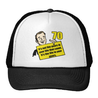 Living Life 70th Birthday Gifts Trucker Hats