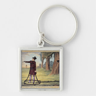 Living Made Easy; duelling apparatus Silver-Colored Square Key Ring