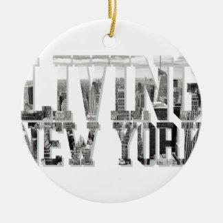 Living New York Round Ceramic Decoration