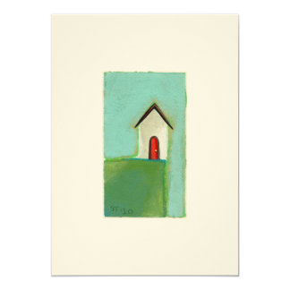 "Living on the edge - adorable little house art 5"" x 7"" invitation card"