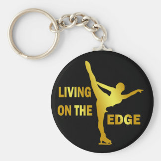 LIVING ON THE EDGE BASIC ROUND BUTTON KEY RING
