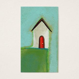 Living on the edge - fun little house art CUSTOM Business Card