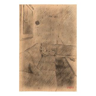 Living room cork paper print