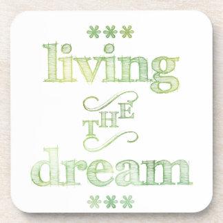 Living The Dream Green Coaster