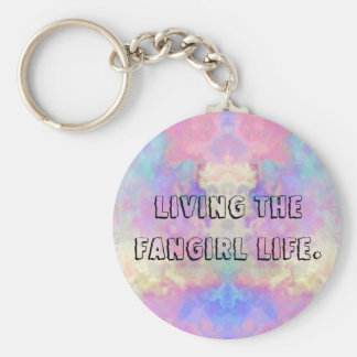 Living the fangirl life button. basic round button key ring