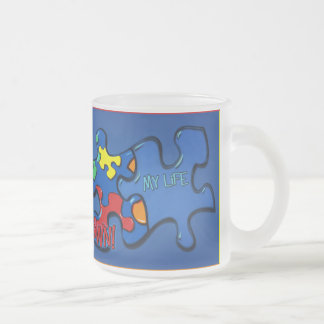 Living With Autism Frosted Glass Mug