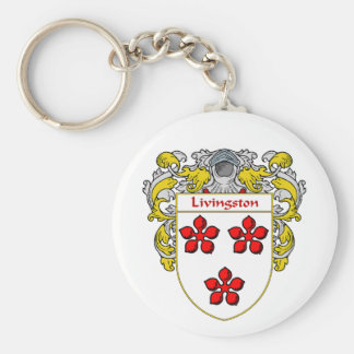 Livingston Coat of Arms (Mantled) Basic Round Button Key Ring