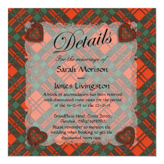 Livingston Scottish clan tartan - Plaid 5.25x5.25 Square Paper Invitation Card