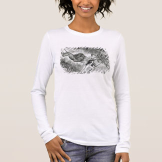 Livingstone Attacked by a Lion (engraving) (b/w ph Long Sleeve T-Shirt