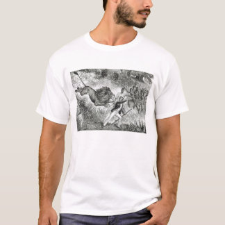 Livingstone Attacked by a Lion (engraving) (b/w ph T-Shirt
