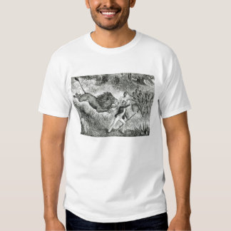 Livingstone Attacked by a Lion (engraving) (b/w ph Tee Shirt