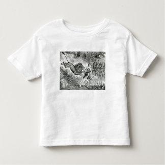 Livingstone Attacked by a Lion (engraving) (b/w ph Tshirts