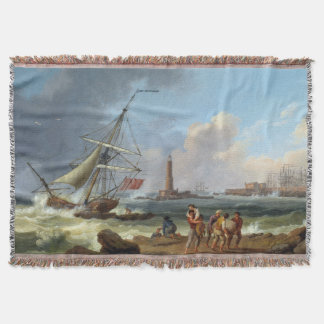 Livorno Italy Coast Shipwreck Ocean Throw Blanket