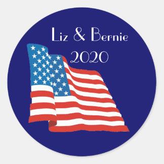 Liz and Bernie - 2020 with American Flag Round Sticker