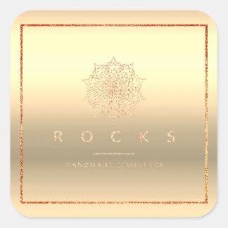 Liz Mandala Pink Rose Gold Metallic Frame Square Sticker