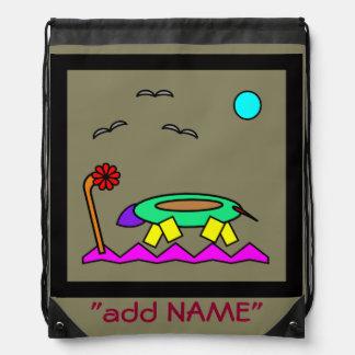 Lizard abstract art for kids drawstring bag