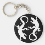 Lizard Art Key Chain Cool Retro Reptile Art Gifts Basic Round Button Keychain