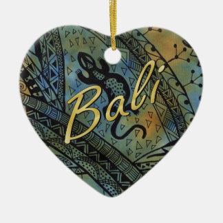 Lizard Batik Ceramic Heart Decoration